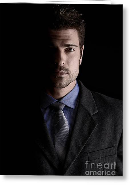 Businesspeople Greeting Cards - Handsome Business Man Greeting Card by Jt PhotoDesign