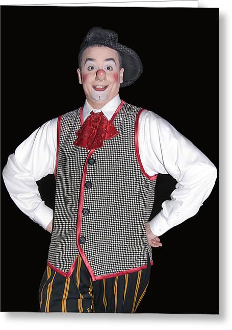 Handsome Clown At The Circus Greeting Card by Susan Leggett
