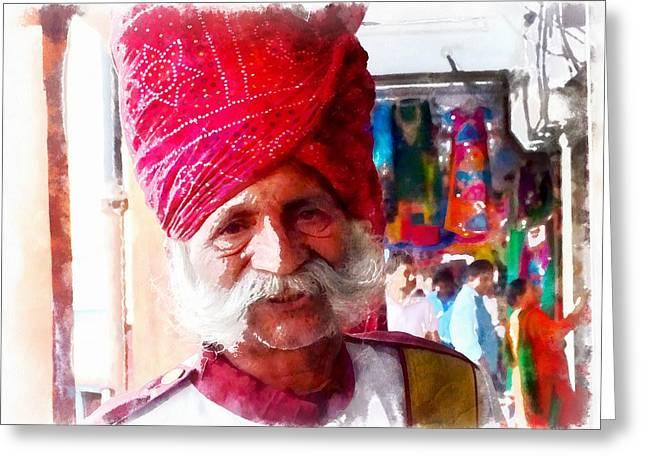 Shepherds Greeting Cards - Handsome Doorman Turban India Rajasthan Jaipur Greeting Card by Sue Jacobi