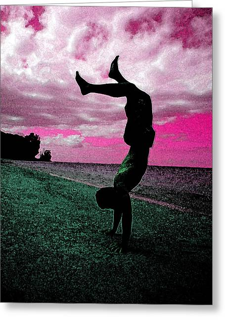 Pop Pyrography Greeting Cards - Handstand Greeting Card by Karen Block