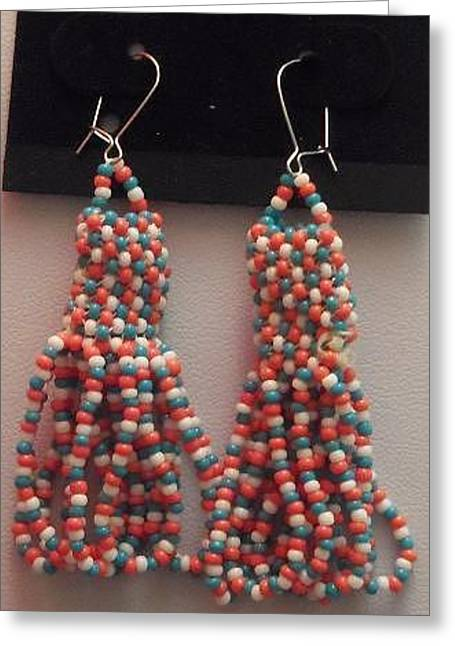 White Jewelry Greeting Cards - Handwoven Red White and Blue Loop Tassel Earrings Greeting Card by Kimberly Johnson