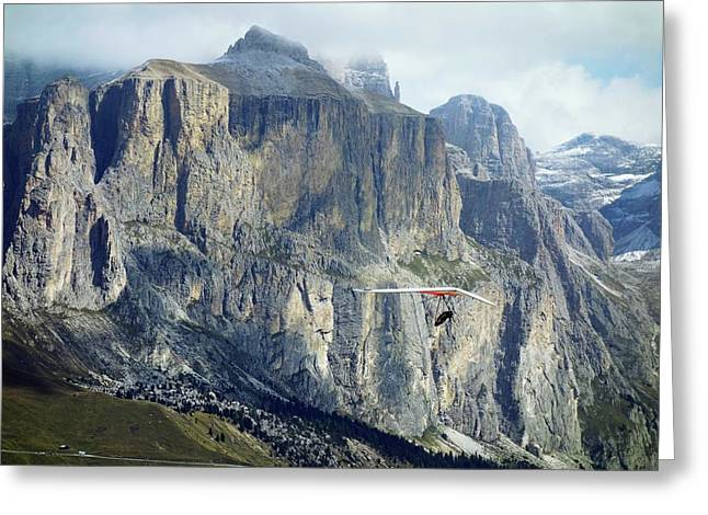 Hang Glider In The Dolomites Greeting Card by Cordelia Molloy