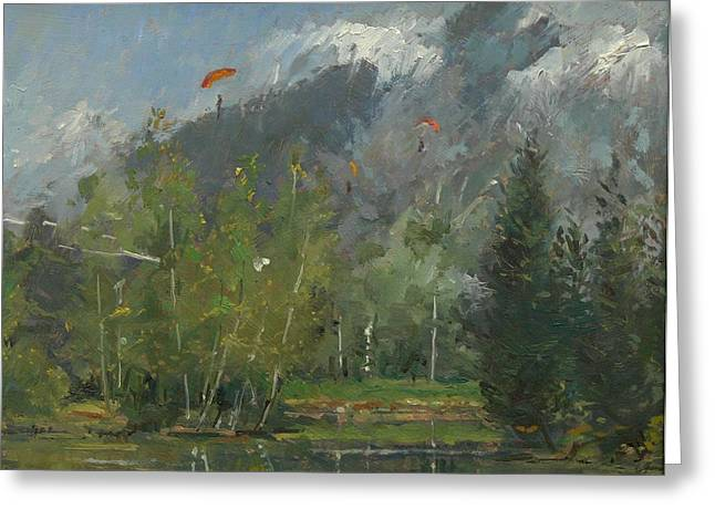 Glider Greeting Cards - Hang Gliders At Chamonix, 2007 Oil On Canvas Greeting Card by Pat Maclaurin