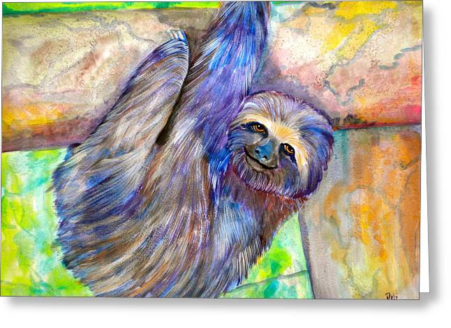 Sloth Greeting Cards - Hang in There Greeting Card by Debi Starr