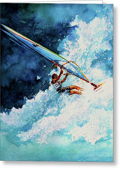 Windsurfer Greeting Cards - Hang Ten Greeting Card by Hanne Lore Koehler