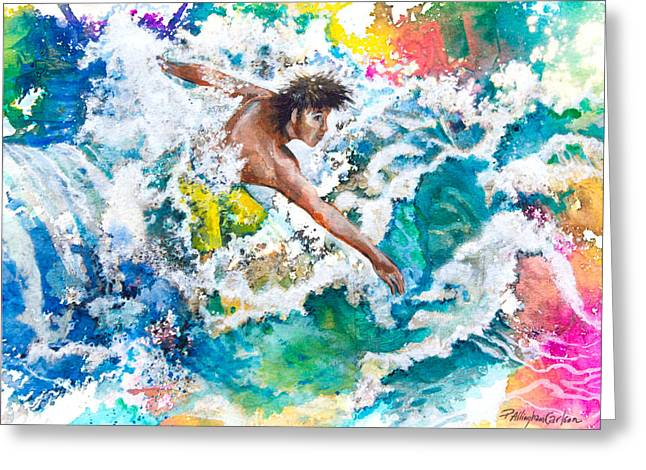 Seacape Greeting Cards - Hang Ten or Twenty Greeting Card by Patricia Allingham Carlson