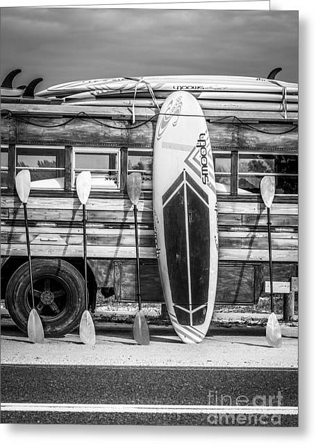Long Boards Greeting Cards - Hang Ten - Vintage Woodie Surf Bus - Florida - Black and White Greeting Card by Ian Monk