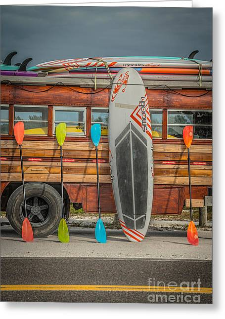 Longboard Greeting Cards - Hang Ten - Vintage Woodie Surf Bus - Florida - HDR Style Greeting Card by Ian Monk