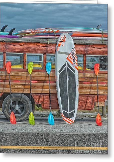 Hang Ten - Vintage Woodie Surf Bus - Florida Greeting Card by Ian Monk