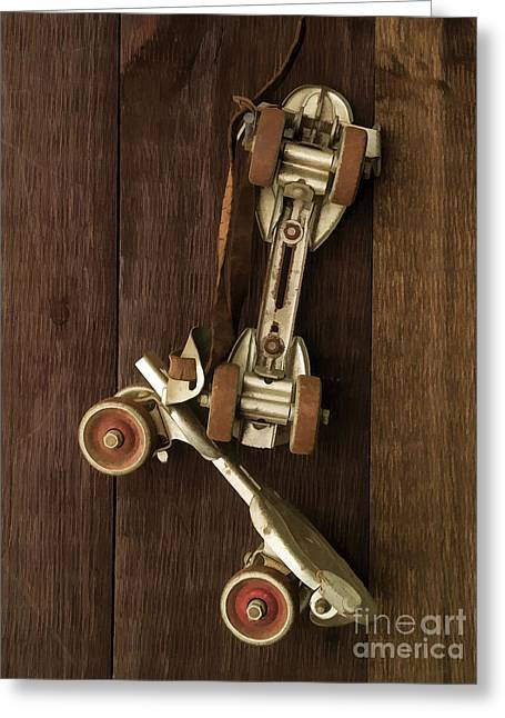 Old Skates Photographs Greeting Cards - Hang Up Your Skates - Oil Greeting Card by Edward Fielding