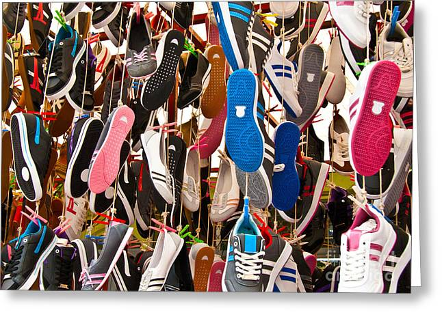 Shoe String Greeting Cards - Hanged Colorful Sport Shoes Greeting Card by Leyla Ismet