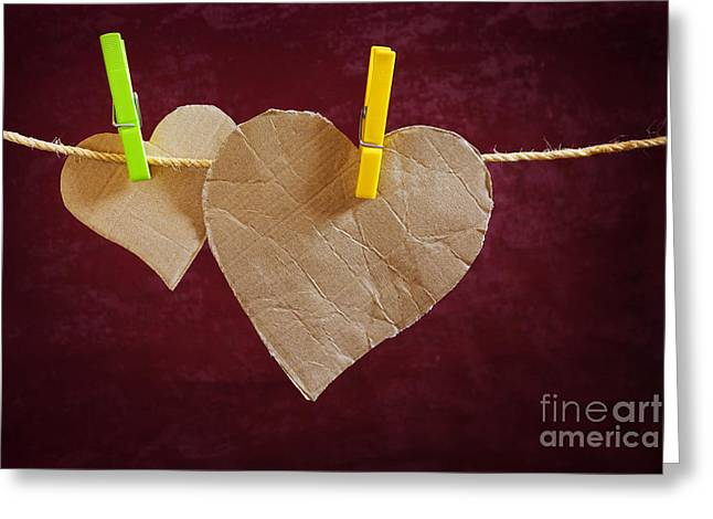 Cardboard Photographs Greeting Cards - Hanged Heart Greeting Card by Carlos Caetano