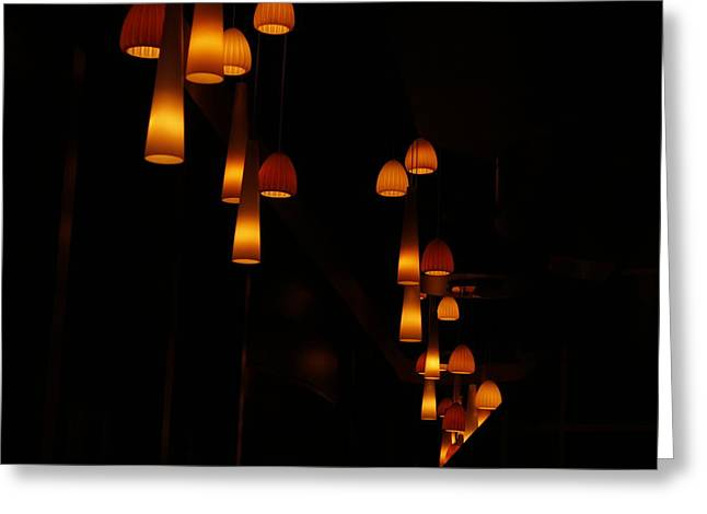 Lit Ceramics Greeting Cards - Hanged Lights Greeting Card by Solanch Fernando