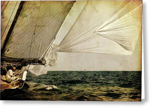 Hanged On Wind In A Mediterranean Vintage Tall Ship Race  Greeting Card by Pedro Cardona