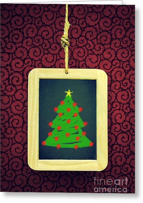 New Year Greeting Cards - Hanged Xmas Slate - Tree Greeting Card by Carlos Caetano