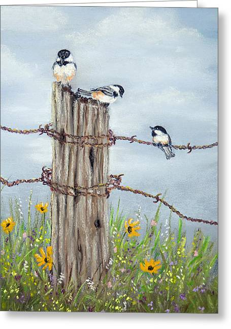 Old Fence Posts Pastels Greeting Cards - Hangin Out Greeting Card by Dee Carpenter
