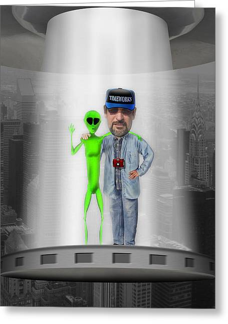 Alien Digital Greeting Cards - Hangin with G Greeting Card by Mike McGlothlen