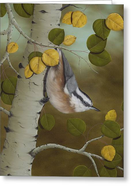 Paintings Greeting Cards - Hanging Around-Red Breasted Nuthatch Greeting Card by Rick Bainbridge