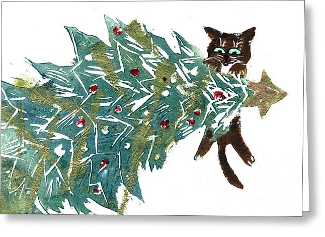 Positive Negative Design Greeting Cards - Hanging Around the tree Greeting Card by Ellen Miffitt