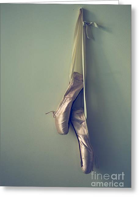 Ballet Shoes Greeting Cards - Hanging Ballet Slippers Greeting Card by Diane Diederich