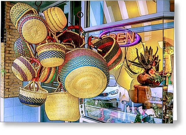 John Haldane Greeting Cards - Hanging Baskets Greeting Card by John Haldane
