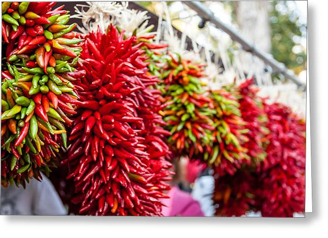 Green Chile Greeting Cards - Hanging Chili Pepper Ristras at Farmers Market Greeting Card by Teri Virbickis