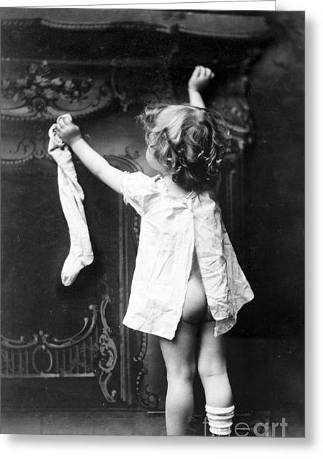 1901 Greeting Cards - Hanging Christmas Stocking 1901 Greeting Card by Photo Researchers
