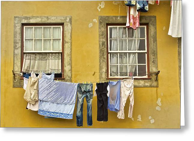 Paint Photograph Paintings Greeting Cards - Hanging Clothes of Old Europe II Greeting Card by David Letts