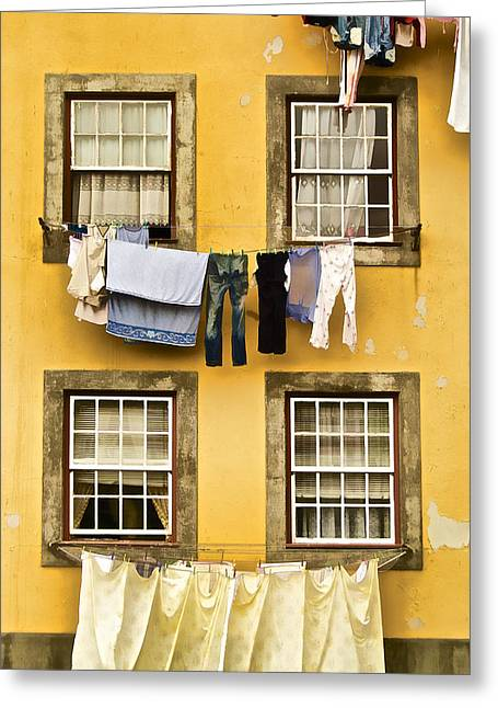 Lace Curtains Greeting Cards - Hanging Clothes of Old World Europe Greeting Card by David Letts