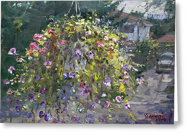 Hanging Flowers From Balcony Greeting Card by Ylli Haruni
