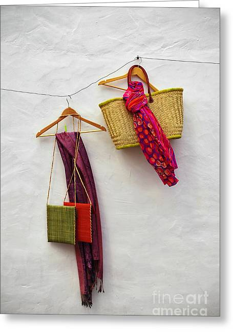 Red Purse Greeting Cards - Hanging Handicraft  Greeting Card by Carlos Caetano