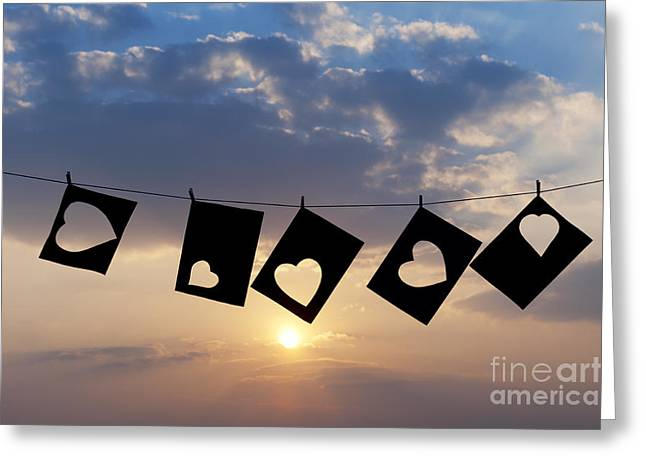Peg Greeting Cards - Hanging hearts Greeting Card by Tim Gainey