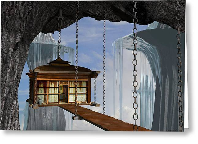 Dwelling Digital Art Greeting Cards - Hanging House Greeting Card by Cynthia Decker