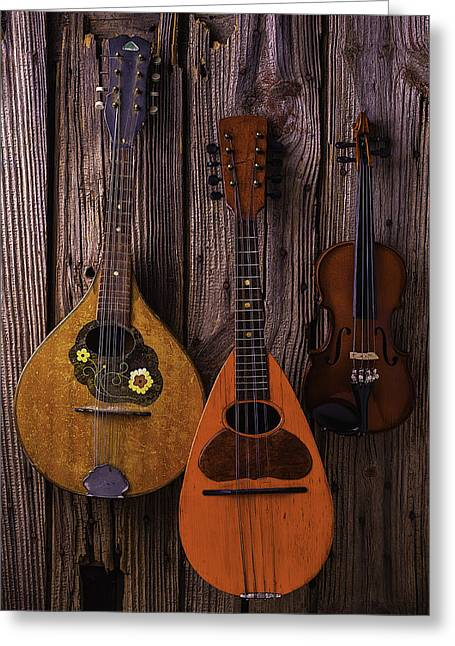 Mandolin Greeting Cards - Hanging Instruments Greeting Card by Garry Gay