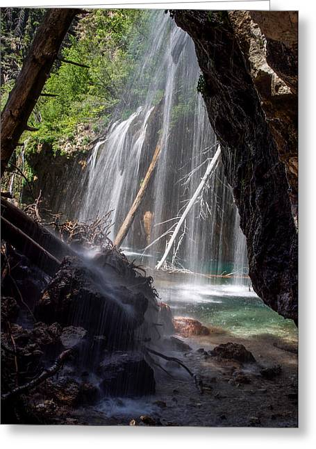 Lush Colors Greeting Cards - Hanging Lake - Under the Falls Greeting Card by Aaron Spong