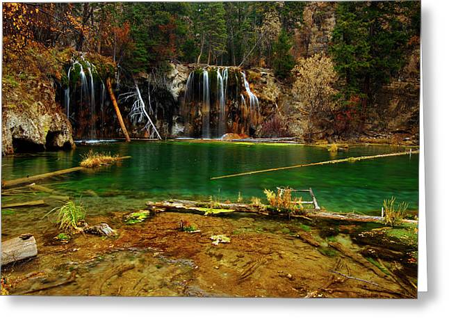 Jeremy Greeting Cards - Hanging Lake Autumn Greeting Card by Jeremy Rhoades