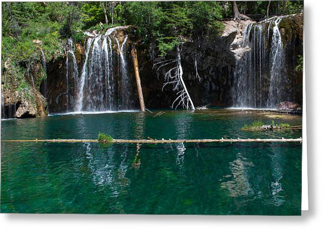 Lush Colors Greeting Cards - Hanging Lake Panorama Greeting Card by Aaron Spong