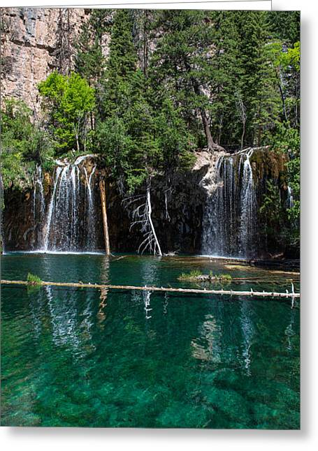 Lush Colors Greeting Cards - Hanging Lake Vertical Panorama Greeting Card by Aaron Spong