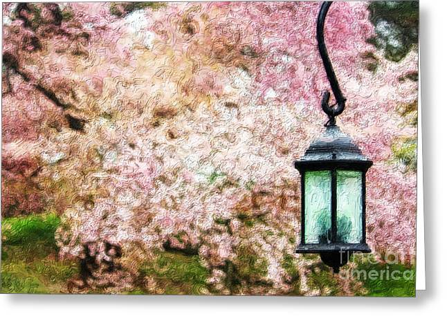 Hanging Lamp And Spring Flowers Greeting Card by Nishanth Gopinathan