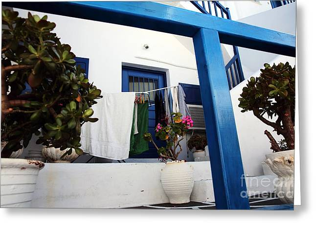 Hanging Laundry Greeting Cards - Hanging Laundry in Mykonos Greeting Card by John Rizzuto
