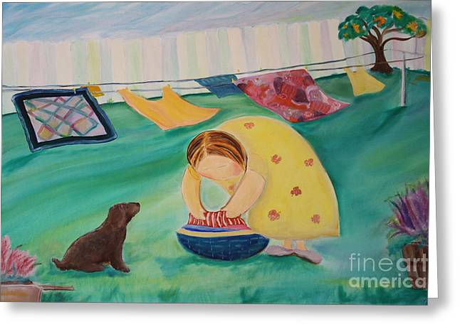 Teresa Hutto Greeting Cards - Hanging Laundry in the Summer Wind Greeting Card by Teresa Hutto