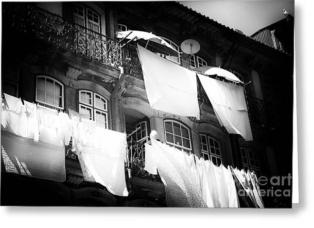 Old School Houses Greeting Cards - Hanging Laundry Greeting Card by John Rizzuto