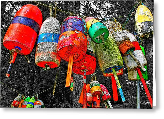Haut Digital Greeting Cards - Hanging Lobster Buoys Greeting Card by Murray Dellow