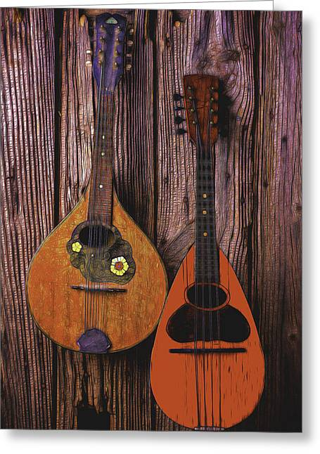 Two Handed Greeting Cards - Hanging Mandolins Greeting Card by Garry Gay