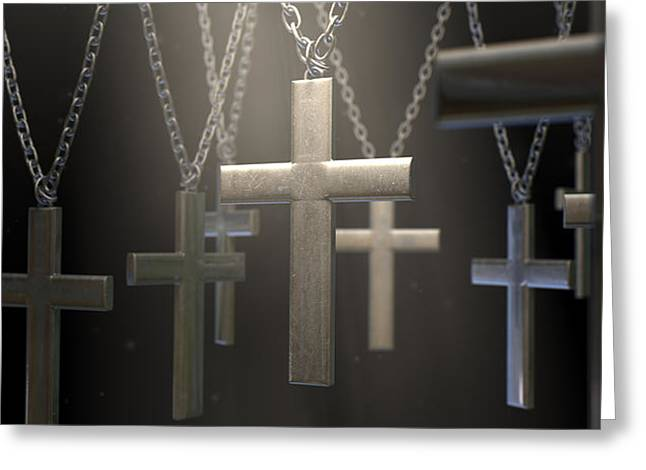 Crucifix Digital Art Greeting Cards - Hanging Metal Crucifixes  Greeting Card by Allan Swart