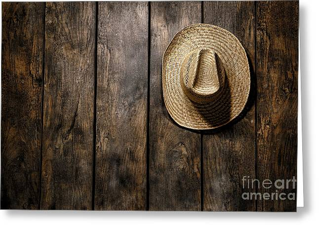 Straw Greeting Cards - Hanging my Hat Greeting Card by Olivier Le Queinec