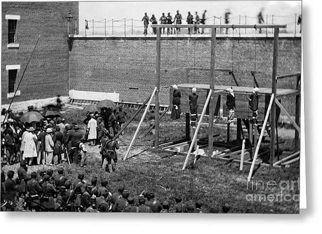 Mary Powell Greeting Cards - Hanging of Lincoln Conspirators Mary Surratt Lewis Powell David Herold George Atzerodt Greeting Card by David Call