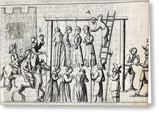 Grievances Greeting Cards - Hanging Of Witches, 17th Century Greeting Card by British Library