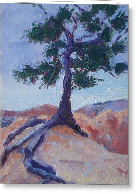 Tree Roots Paintings Greeting Cards - Hanging On for Dear Life Greeting Card by Susan Woodward
