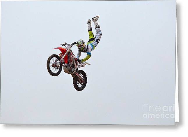 Supercross Greeting Cards - Hanging On for Life Greeting Card by DejaVu Designs
